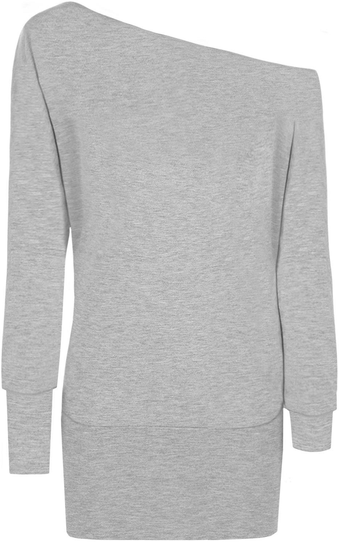 WearAll Women's Off-Shoulder Batwing Top - Light Gray - US 8-10 (UK 12-14)