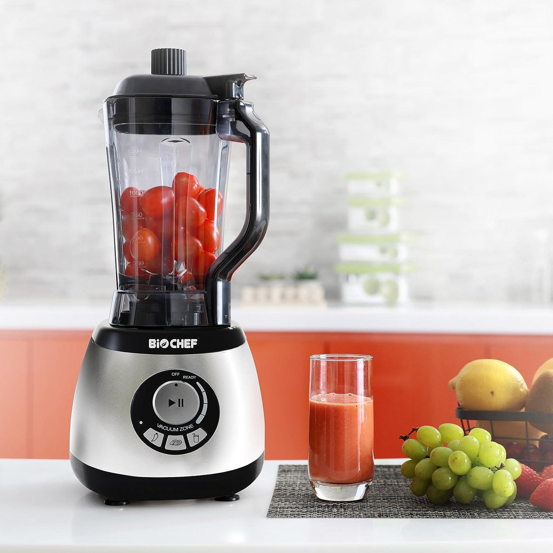 Bio Chef AirFree - Batidora al vacío | Batidora de Vaso 2L | Vacuum Blender | Accesorios: 4 x Contenedores, 3 x Bolsas de vacío, 1 x Botella, 1 x Tapón (Plata)