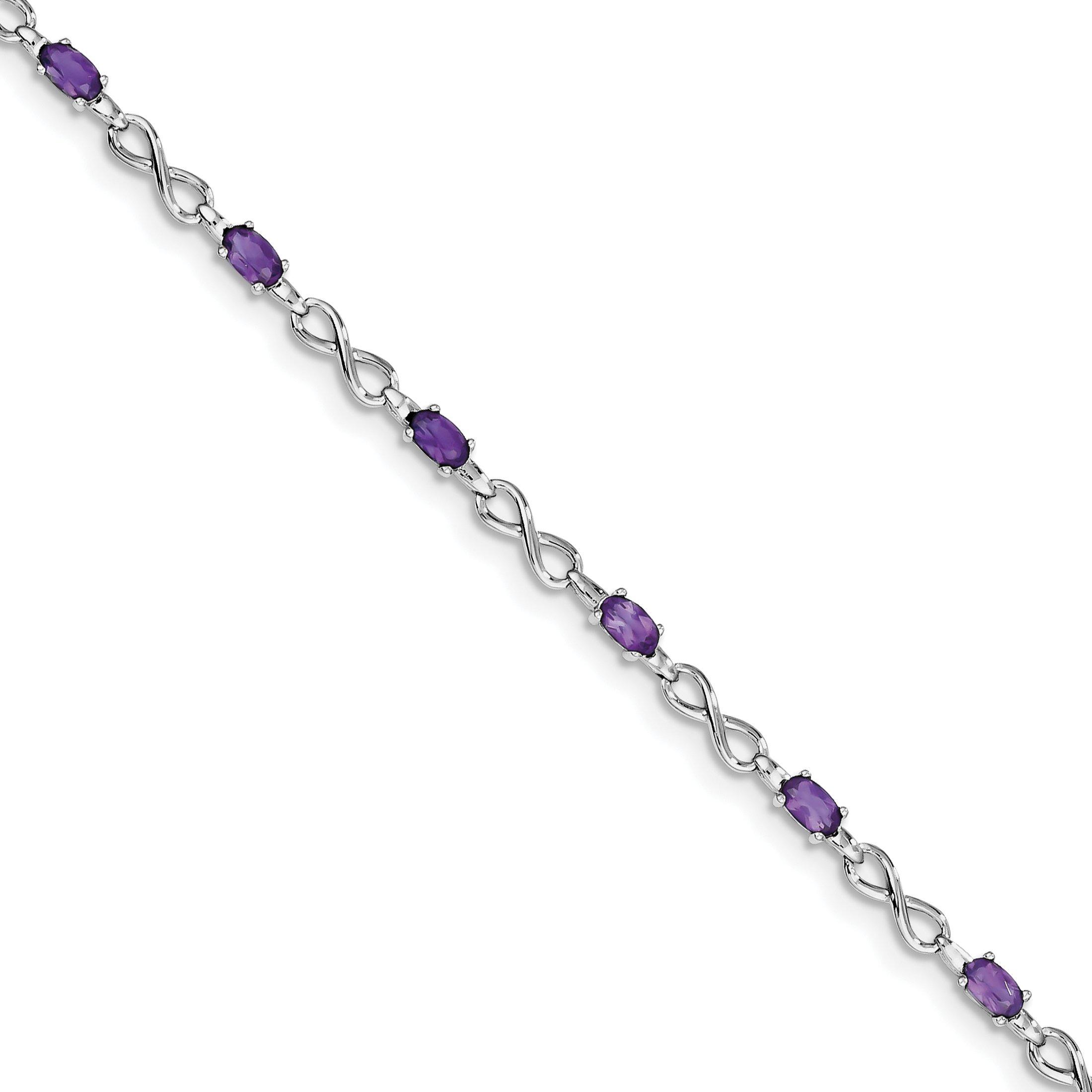 ICE CARATS 925 Sterling Silver Purple Amethyst Bracelet 7.50 Inch Infinity Gemstone Fine Jewelry Gift Set For Women Heart