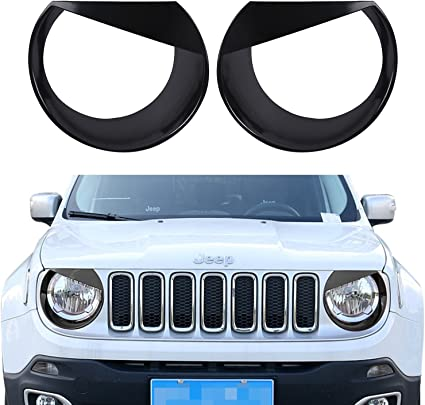 Light Green RT-TCZ Front Light Cover Angry Bird Headlight Bezels Cover ABS Trim For 2015 2016 2017 Jeep Renegade-2PCS