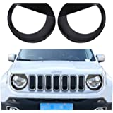 opar Black Angry Bird Headlight Bezels Cover for 2015 2016 2017 Jeep Renegade