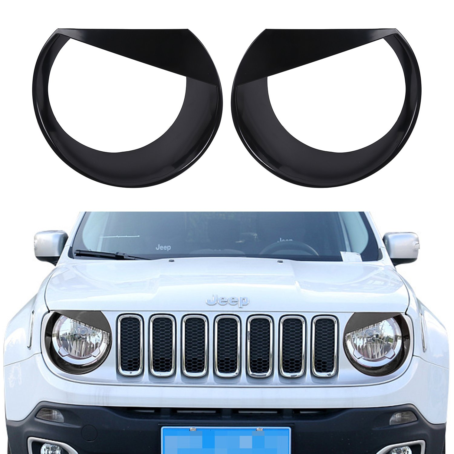 Hooke Road Black Angry Bird Headlight Bezels Cover for 2015 2016 2017 Jeep Renegade