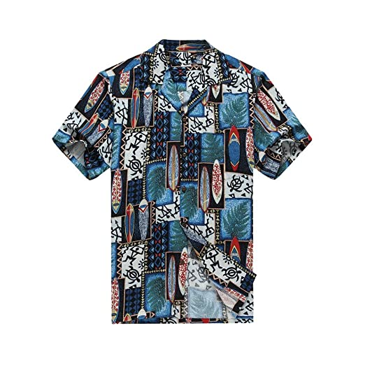3b6fe6a75 Made in Hawaii Men's Hawaiian Shirt Aloha Shirt S Quilt Patch Leaf  Surfboards Turtle in Blue