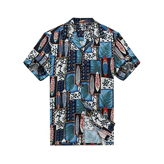 7d9579626 Made in Hawaii Men's Hawaiian Shirt Aloha Shirt 3XL Quilt Patch Leaf  Surfboards Turtle in Blue: Amazon.co.uk: Clothing