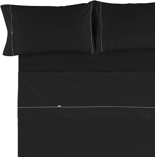 Es-Tela - Juego de sábanas liso con biés, color negro, cama de 150 ...
