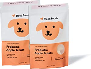 Heed Foods - Freeze-Dried Probiotic Apple Treats 2 Pack   Non-GMO   Single Sourced Apples   Human Grade   Healthy Dog Treats Made in The USA (2) .8oz Bag