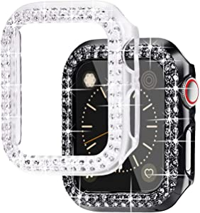 NewWays Bling Cases Compatible for Apple Watch 38mm 40mm 42mm 44mm, Protective Bumper for iWatch SE Series 6 5 4 3 2 1 (44mm, Black/Clear)