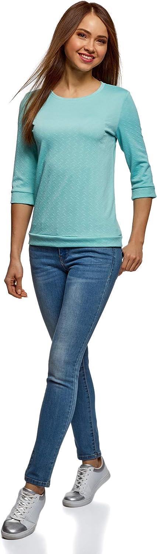 oodji Ultra Femme Sweat-Shirt /à Col Rond et Manche 3//4
