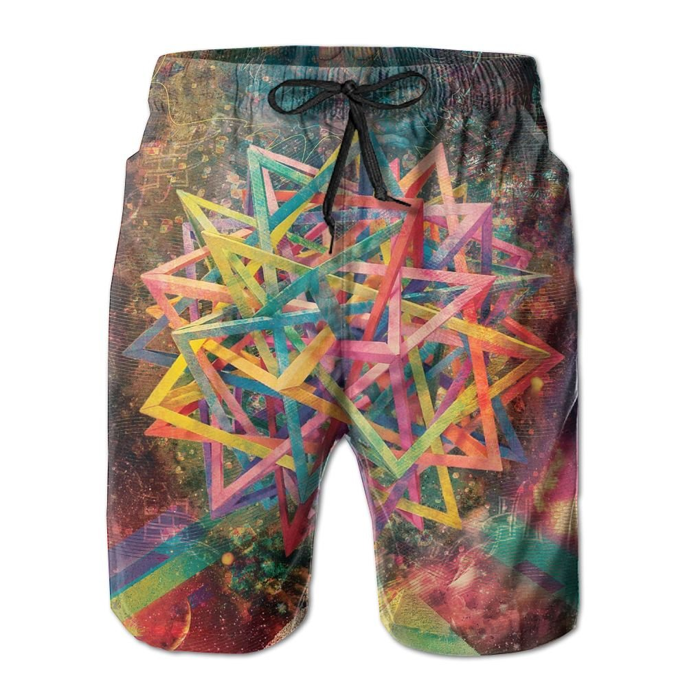 Abstract Psychedelic Beach Shorts Swim Trunks Surf Board Pants With Pockets For Men Tydo