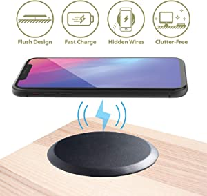Cobble Pro Embedded 10W Wireless Charger with Hidden Cable [Integrate Into Desk] [Ultra Slim] [Cable Free Desktop] [No Core Drill Needed] [Easy to Install] [Tools Included] Black PU Leather