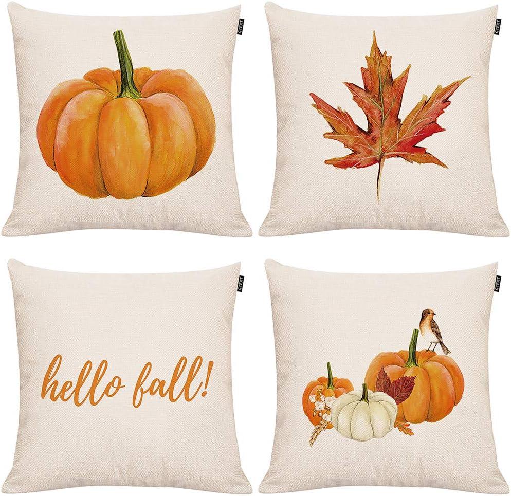 GTEXT 4 Pcs Fall Pillow Covers Fall Decor Pumpkin Maple Leaves Throw Pillow Cases Cushion Cover 18