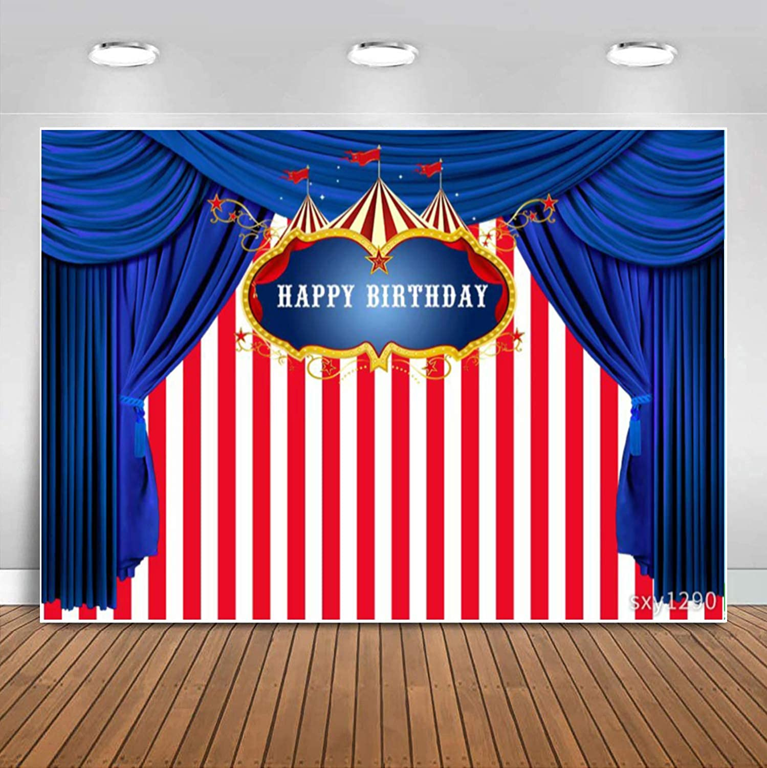 Sensfun Carnival Themed Birthday Backdrop White and Red Stripes Blue Curtain Circus Carousel Photo Background for Boy Girls 1st Birthday Party Decor Bday Dessert Table Banner Photobooth Props 10x6.5ft