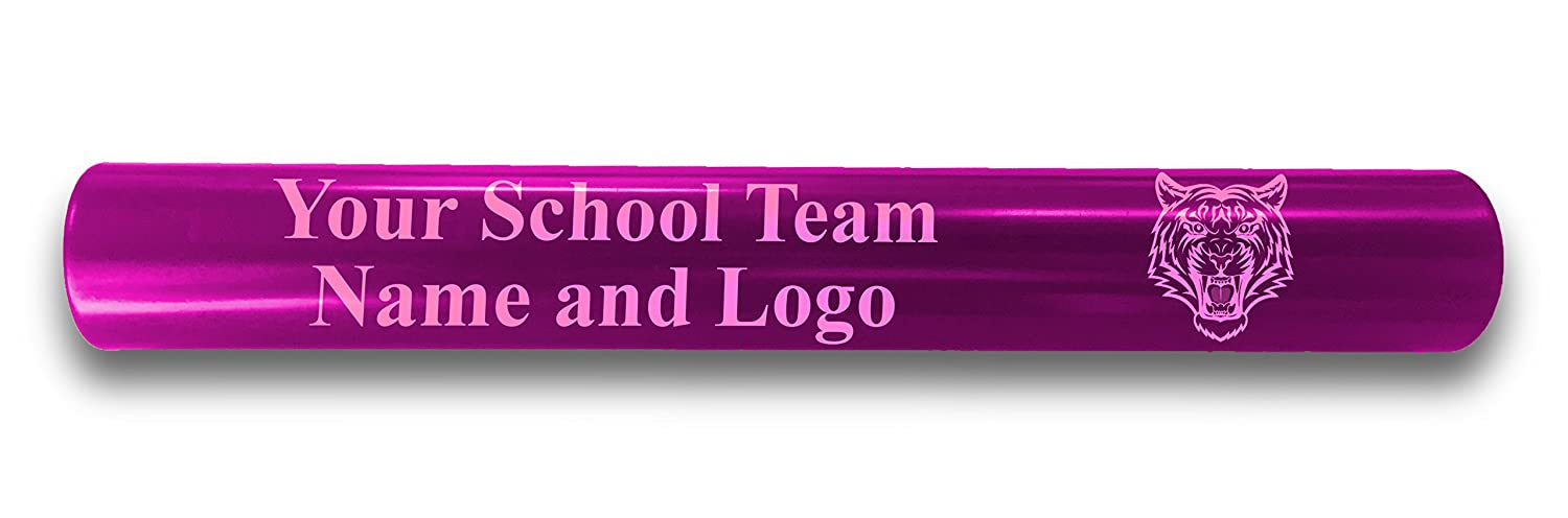 Custom Pink Aluminum Track and Field Relay Baton Personalized Gift - Your Team Name and Logo Engraved Hat Shark