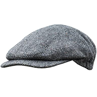a91afa6f4b9c Men's Authentic Irish Wool Flat Cap - Traditional Herringbone Style, Made  in Ireland, Gray