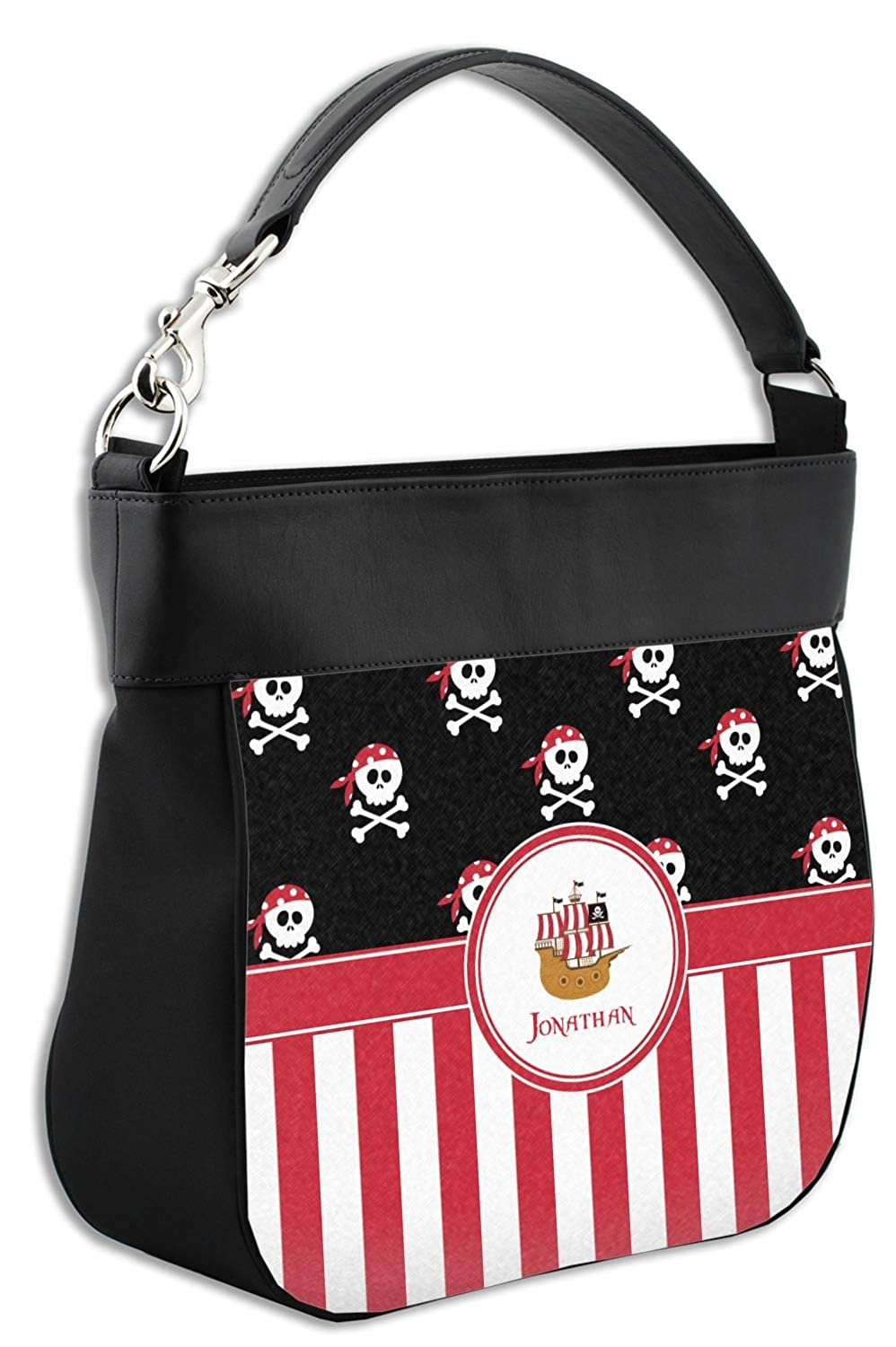 Front /& Back Personalized Pirate /& Stripes Hobo Purse w//Genuine Leather Trim