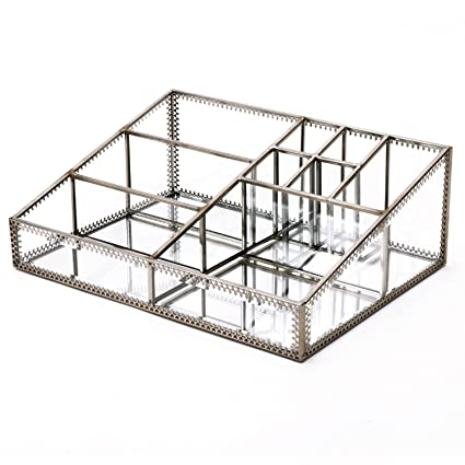 Hersoo Glass Makeup Organizer Cosmetic Storage For Vanity,Stunning Divided  Cabinet To Hold Makeup/