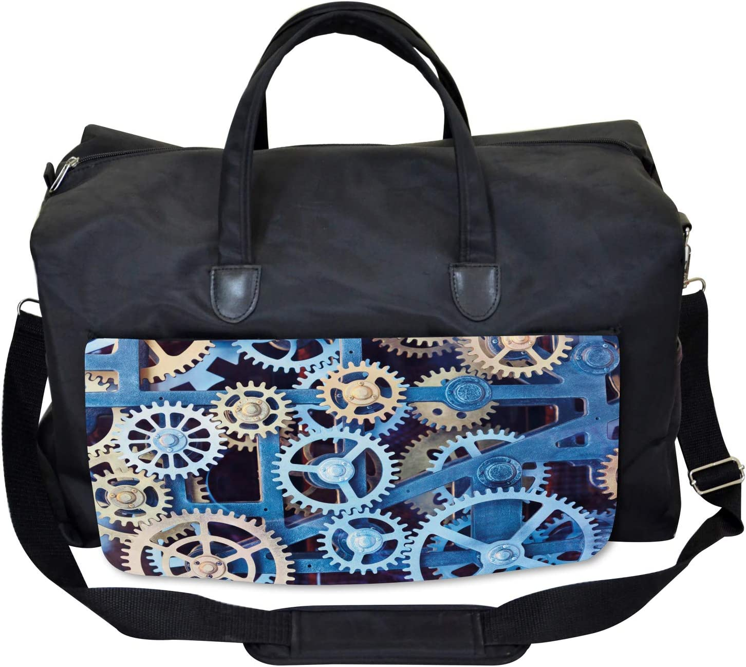 Ambesonne Mechanical Gym Bag Large Weekender Carry-on Clock Gears Design
