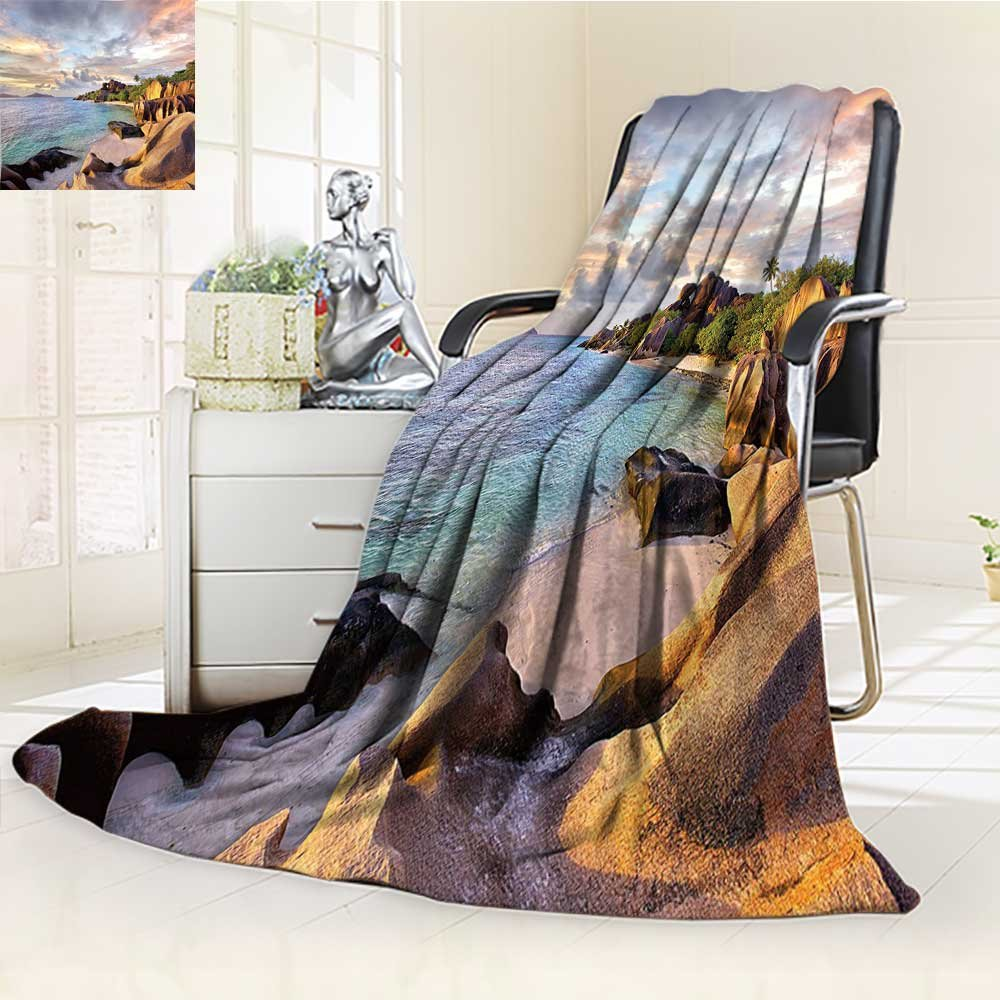 80%OFF Warm Microfiber All Season Blanket Seaside Tropical Rock Sandy at in with Sky Light Art on Earth Cream Blue Print Artwork Image,Multicolor