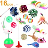 Depets Interactive Cat Toys Variety Pack for Kitten, Assorted 16 Pieces Cat Toy Set Including Feather Teaser Wand Toy Fluffy Mice, Crinkle Balls Bells for Cat Kitty (Color May Vary)