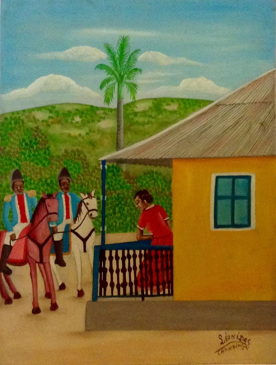 Original Vintage Haitian Painting A Lady and Two Officers 16''x12'' by