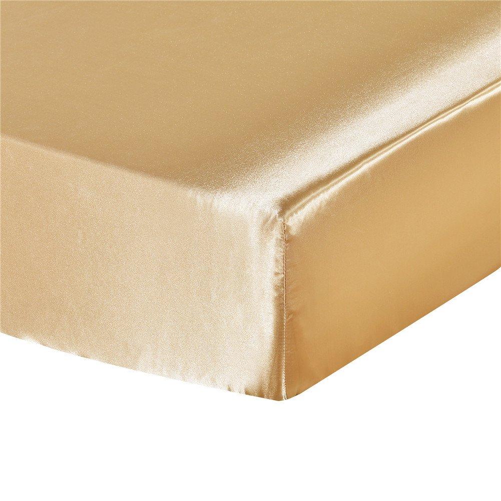 elegantstunning Emulation Silk Mattress Cover Beddings Supplies Camel 19820330(7880)(0.6KG)