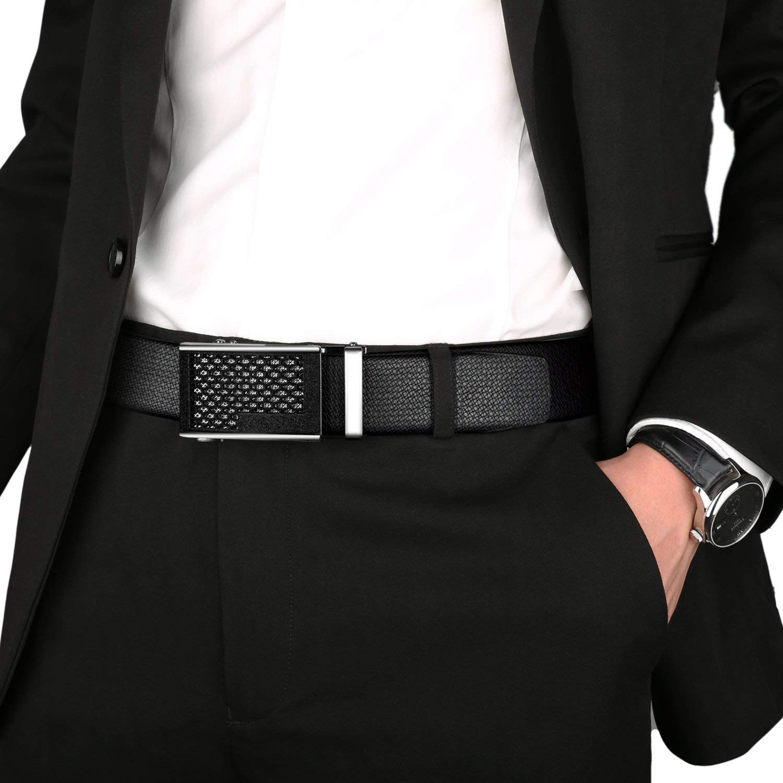 ITIEZY Leather Ratchet Dress Belt for Men with Automatic Sliding Buckle Trim to Fit Mens Belt