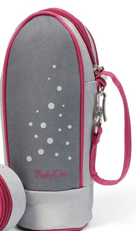 BabyOne - Porte-biberon isotherme + pochette pour tétines - Gris/Rouge vin Babyono 602