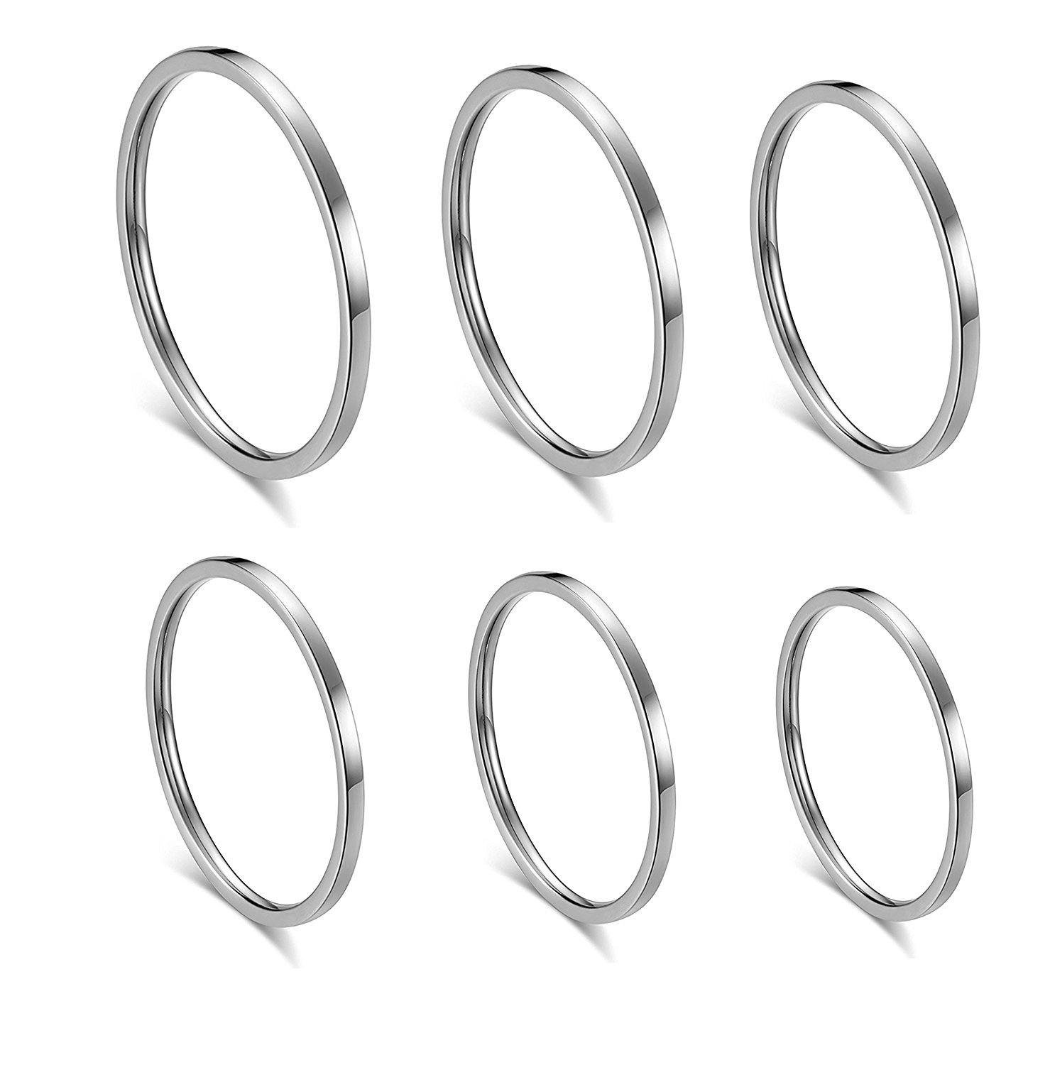 ALEXTINA Women's 6 Pieces Stainless Steel 1MM Silver Thin Midi Stacking Rings Plain Band Comfort Fit Size 4 to 9