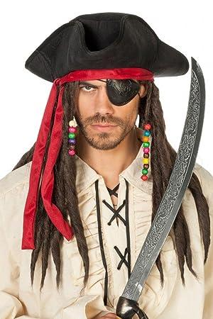 87b5712ead4 Black Pirate Hat with Dreadlocks  Amazon.co.uk  Toys   Games