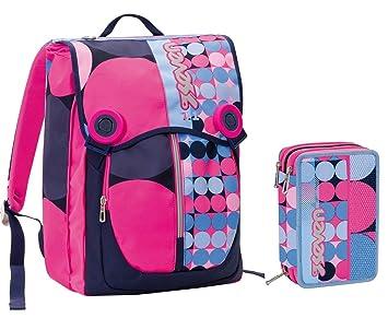 bba4a17802 Zaino scuola sdoppiabile SEVEN + Astuccio - LOUD - Azzurro Rosa -  estensibile - 28 LT - elementari e medie inserti rifrangenti: Amazon.it:  Valigeria