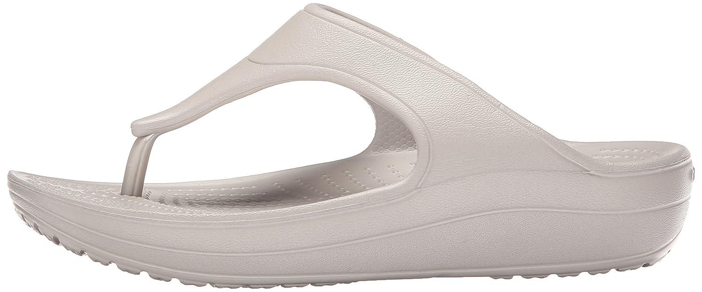 Crocs Damen Sloane mit Platform Flip Offene Sandalen mit Sloane Keilabsatz Platino 950762