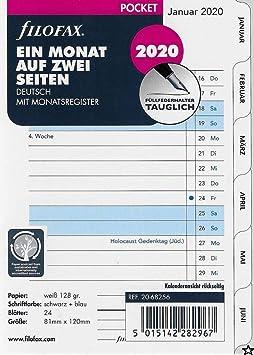 2020 Deutsch Filofax Kalendereinlage Personal 1 Monat Auf 2 Seiten Tabbed