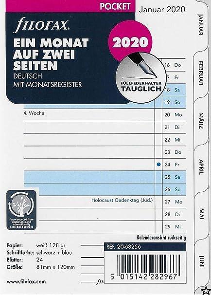 Filofax 2020 - Recambio para agenda (1 mes en 2 páginas, en ...