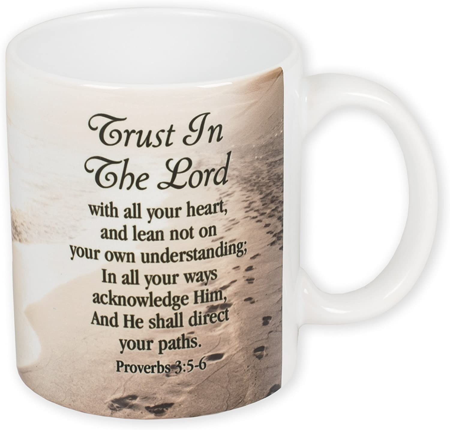 Trust In The Lord Beach Proverbs 3 5 6 Kjv 11 Ounce Ceramic Coffee Mug Amazon Co Uk Kitchen Home