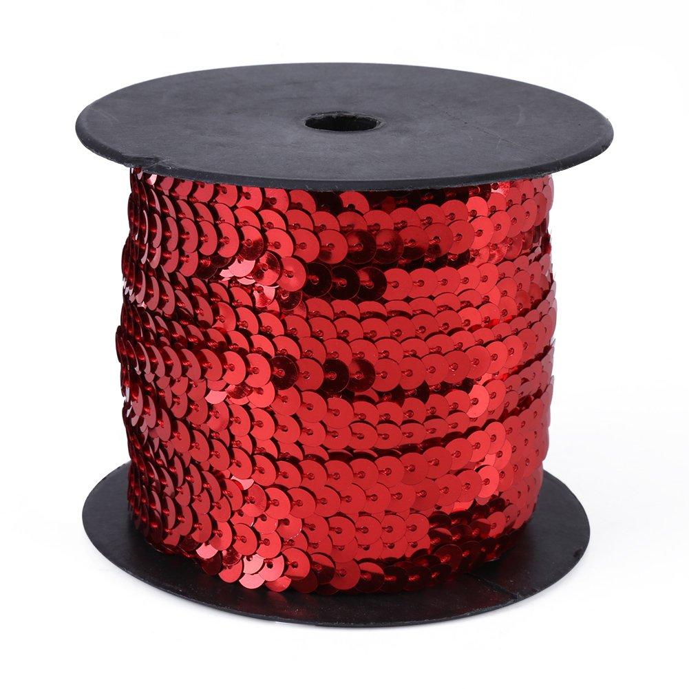 Sequins String, DIY 100 Yards 6mm Shiny Sequins Trim Strings Paillette Spool String Trim Lace for Dress, Headband(Black) GLOGLOW