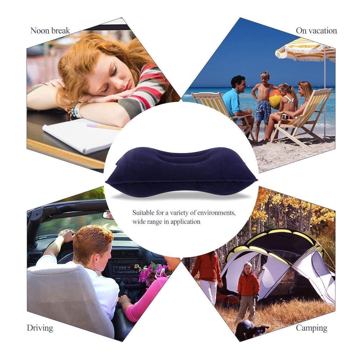 pour 2 x Masque de Sommeil 3D Noir avec Sac pour Camping Bleu INTVN 2 x Oreiller Gonflable Flocage Super /épais Tissu Oreiller de Voyage Portable pour activit/és de Plein air