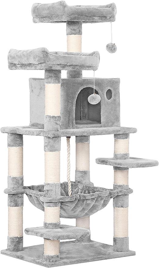 Yaheetech árbol para Gatos Rascador con Nidos Árbol Grande para Gatos Mascota Hamaca Plataforma 60,5 x 50,5 x 146,5 cm Gris Clara: Amazon.es: Productos para mascotas