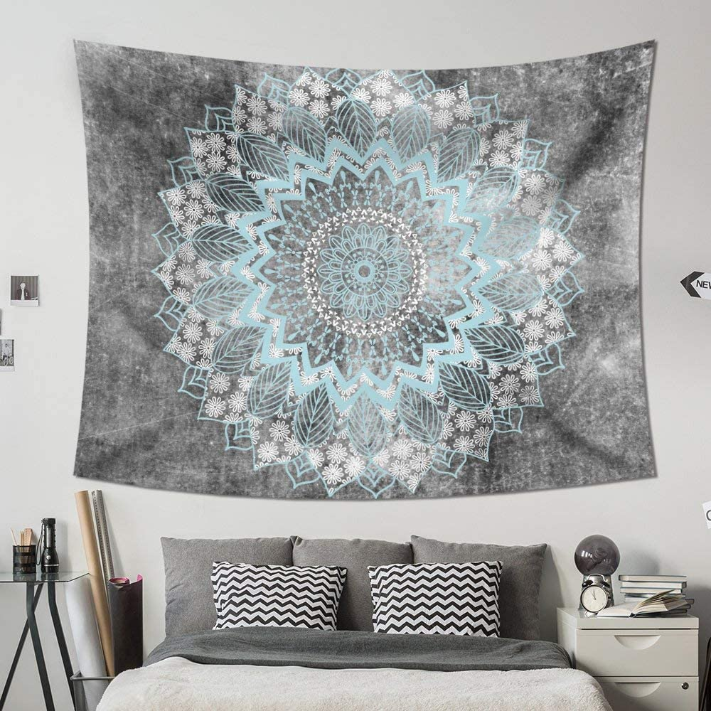 Psychedelic White Boho Painting Wall Art Hippie Bohemian Indian Wall Hanging Tapestry Home Decor for Bedroom Living Room Dorm Apartment 51x60 HAOCOO Grey Mandala Tapestry