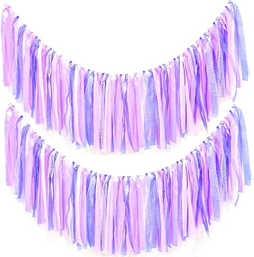 Lace Pattern Purple Birthday Bunting Garland Flag Banner Wedding Decoration H