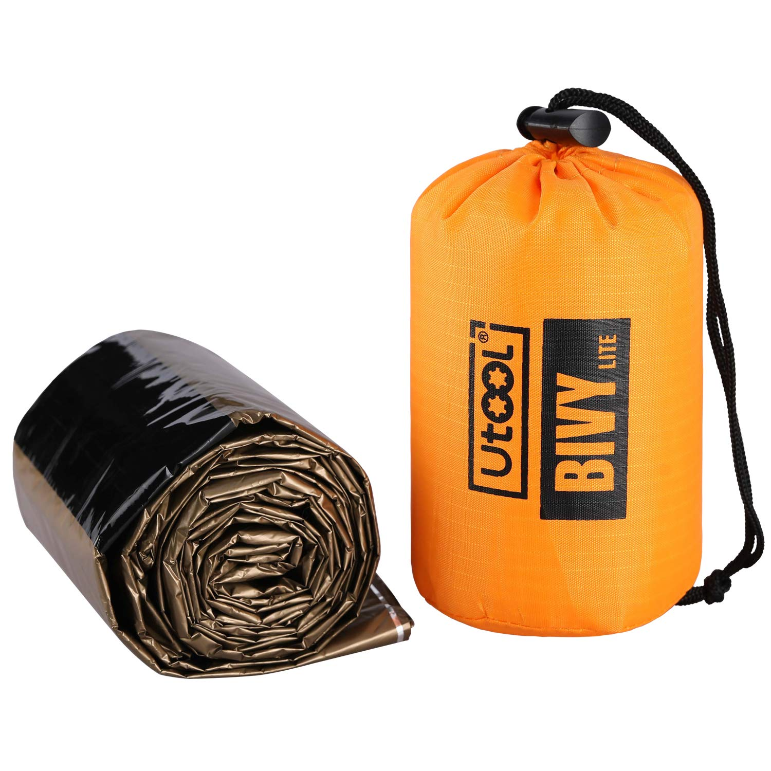 UTOOL Ultralight Emergency Sleeping Bag Waterproof Bivy Sack Bivvy Cover with Heat Retention for Camping Hiking and Emergency Shelter etc