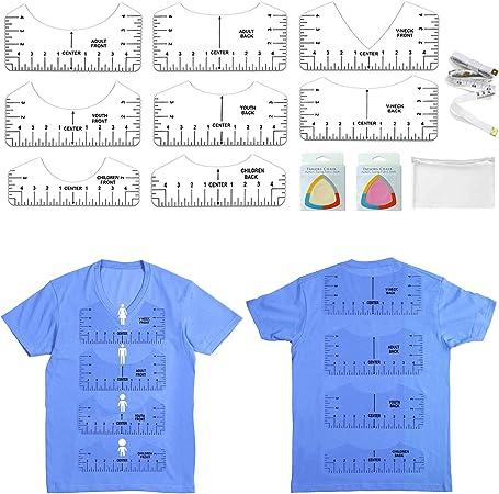 11Pcs T-Shirt Ruler Guide for Center Designing Clothing Back and Front Including V-Neck Alignment Ruler Tool for Adult Youth Children V-Neck(Transparent)