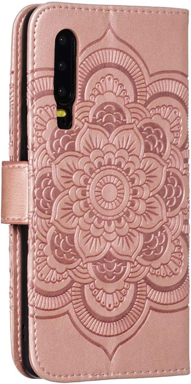 Brown Cfrau Wallet Case with Black Stylus for Huawei P30,Beautiful Mandala Sunflower Embossed PU Leather Magnetic Flip Stand Soft Silicone Card Slots Case with Wrist Strap