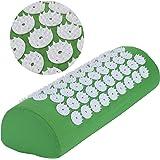 Belmalia Cuscino per agopressione per spalle e collo, rotolo per cervicale, cuscino per massaggio, cuscino per rilassamento, yantra, TCM Verde