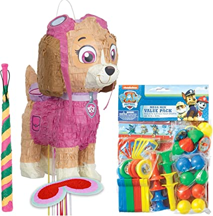 Amazon.com: Paw Patrol rosa Skye Deluxe Kit de Pull Piñata ...