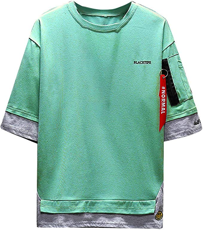 Men S Half Sleeve Fake Two Piece Round Neck Short Sleeve T Shirt
