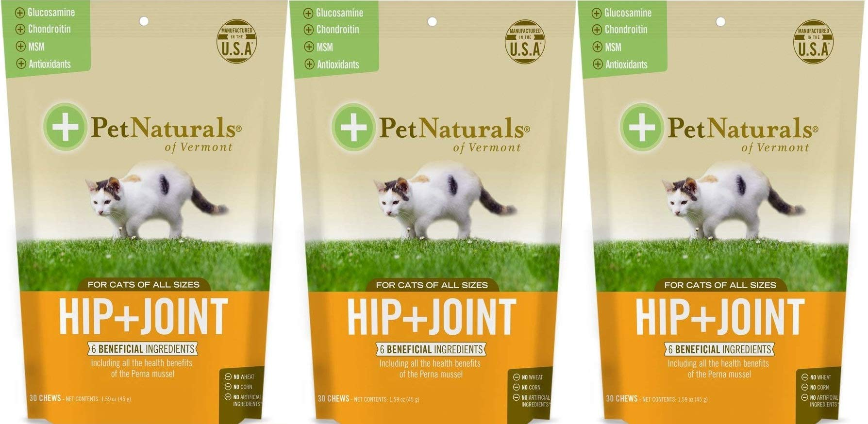 (3 Pack) Pet Naturals of VT Hip + Joint Supplements for Cats by Pet Naturals