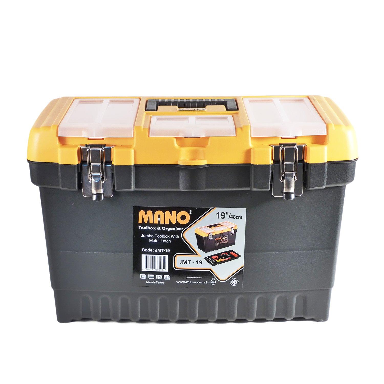 Boîte à outils vide 19'/48cm avec crochets en métal avec plateau et couvercle organiseur Mano