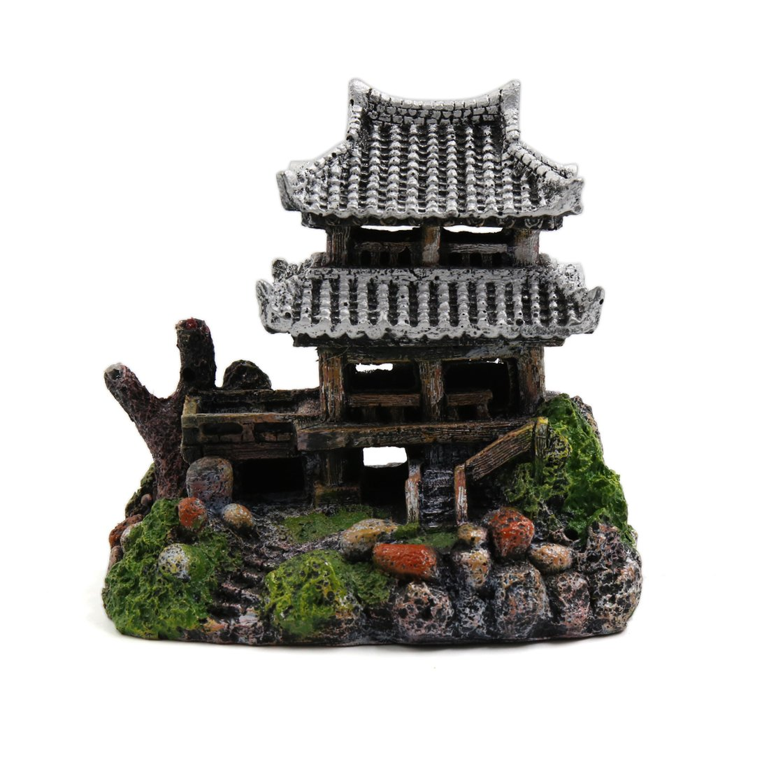 uxcell Resin Ancient Floor Building Aquarium Fish Tank Underwater Landscape Decoration
