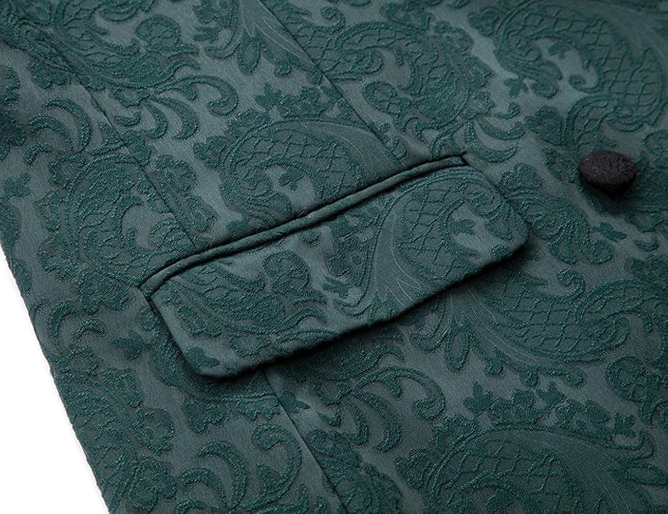 Wemaliyzd Mens 3 Pieces Jacquard Wedding Suit Classic Fit Blazer Vest Pants