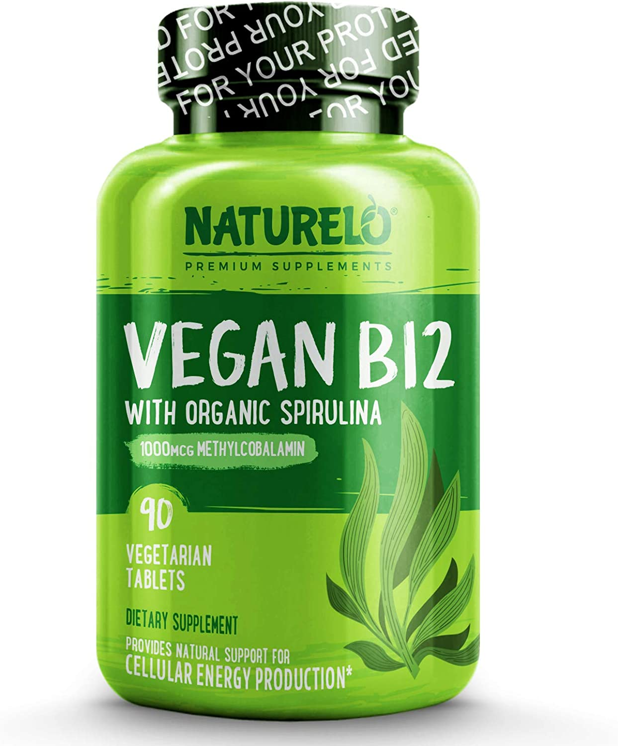 NATURELO Vegan B12 with Organic Spirulina - Best Natural Supplement for Energy, Metabolism and Stress - High Potency 1000 mcg B12 (Methylcobalamin) - Non GMO, Gluten Free - 90 Tablets